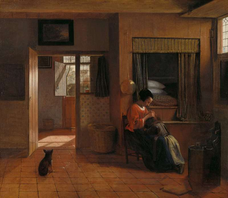 "A mother who cleans the hair of her child, known as ""Mother Task ', Pieter de Hooch, ca 1658 - ca 1660. Click, then re-click for enlarged HD image. Courtesy of the Rijksmuseum."