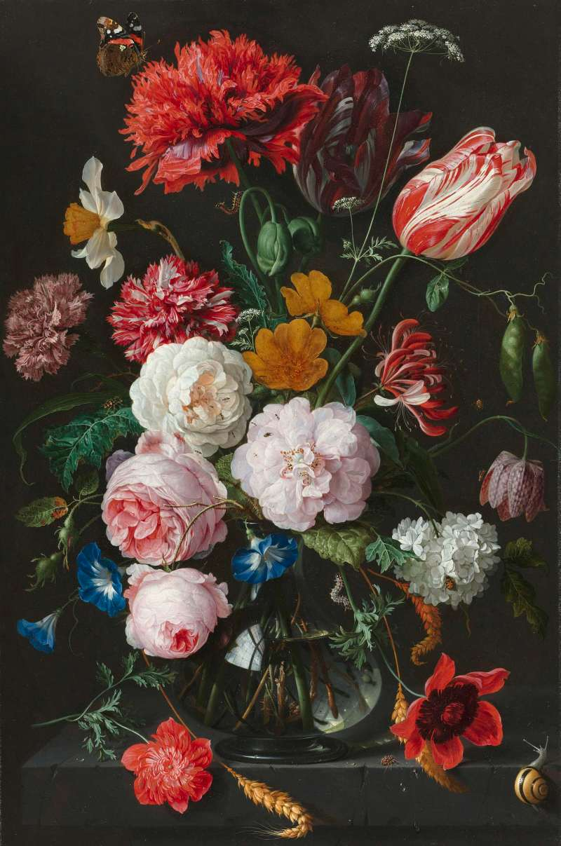 Still life with flowers in a glass vase, Jan Davidsz. de Heem, 1650 - 1683. Click to enlarge. View in background and in the slide show below.