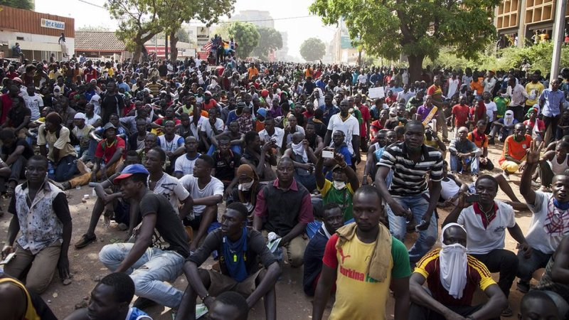 Protests to demand the removal of Burkina Faso's President Blaise Compaore. Photograph by the BBC's Laeila Adjovi.