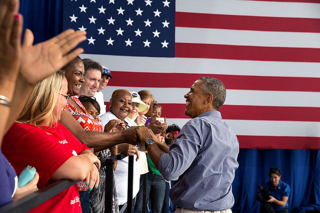 President Barack Obama shakes hands  at the Milwaukee Laborfest at Henry Maier Festival Park in Milwaukee, Wis. on Labor Day, Sept. 1, 2014.