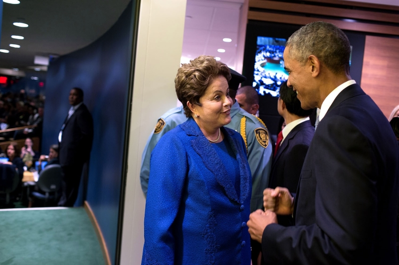 President Barack Obama greets President Dilma Rousseff of Brazil at the United Nations, prior to addressing the United Nations General Assembly in New York, N.Y., Sept. 24, 2014. (Official White House Photo by Pete Souza) This official White House photog